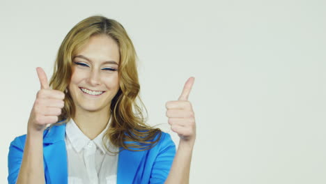 Attractive-Woman-Showing-A-Thumbs-Up-Smiling-Approval-Gesture-Hd-Video