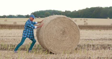 Smiling-Farmer-Rolling-Hay-Bale-And-Gesturing-In-Farm