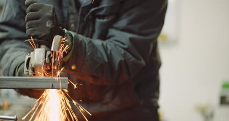Falling-Spark-During-Cutting-Metal-With-Angle-Grinder-