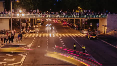 Traffic-Cars-Near-Singing-Fountains-In-Barcelona