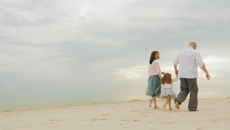 Happy-Family-Together-Walking-Along-Shore-Of-Calm-Sea