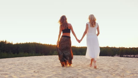 Two-Slender-Women-In-Beautiful-Dresses-Go-Through-The-Sand-Into-The-Sunset-Back-View