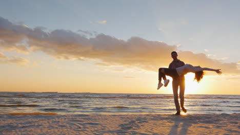 A-Young-Man-In-Love-At-The-Hands-Circling-His-Bride-On-The-Beach-At-Sunset-Prores-Hq-10-Bit-Video