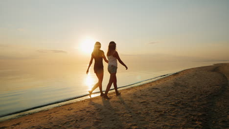 Young-Mother-With-Her-Daughter-A-Teenager-Walking-On-The-Beach-At-Sunset-Back-View