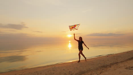 Happy-Young-Woman-Running-With-A-Kite-Concept---Cloudless-Prospects-Confidence-And-Carelessness
