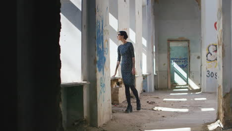 Lonely-Sad-Woman-In-An-Abandoned-House-Walking-From-Side-To-Side