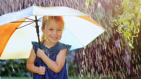 Carefree-Girl-Three-Years-Under-The-Umbrella-Of-Color-Hiding-From-The-Rain