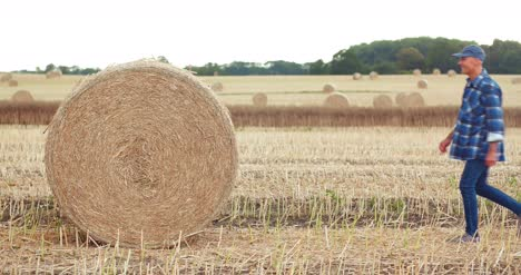 Smiling-Farmer-Rolling-Hay-Bale-And-Gesturing-In-Farm-2