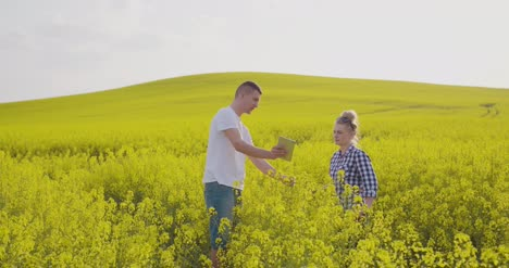Farmers-Discussing-Over-Digital-Tablet-At-Rapeseed-Field-1