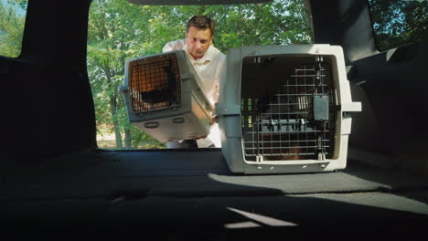 Person-Puts-Two-Cages-With-Puppies-In-The-Trunk-Of-A-Car-Transportation-Of-Pets-In-Vehicles