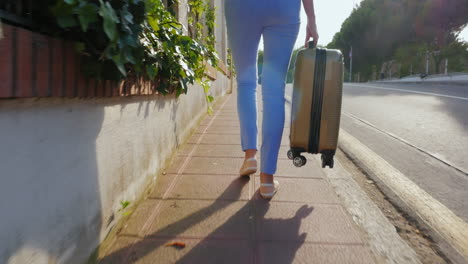 Woman-Tourist-Walking-On-The-Road-With-A-Travel-Bag-Back-View