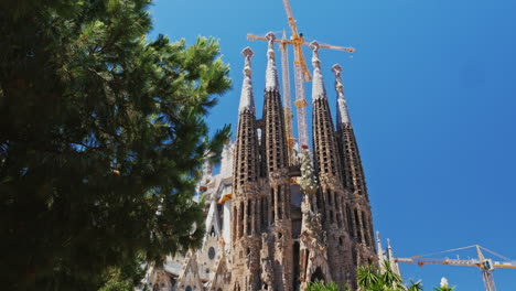 The-Famous-Temple-Of-The-Sagrada-Familia-In-Barcelona-The-Camera-Moves-In-The-Direction-Of-The-Churc