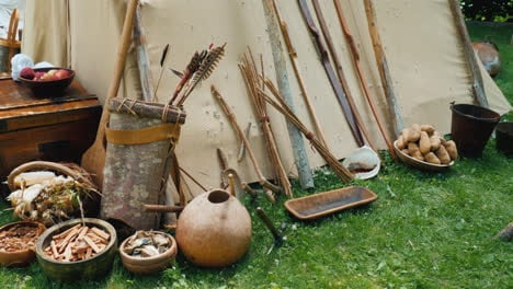 Indians-Household-Items-Near-Traditional-Housing---Wigwam