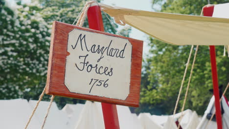 The-Sign-On-The-Imitation-Of-Old-Military-Tents-Labeled-Maryland-Force-In-1756
