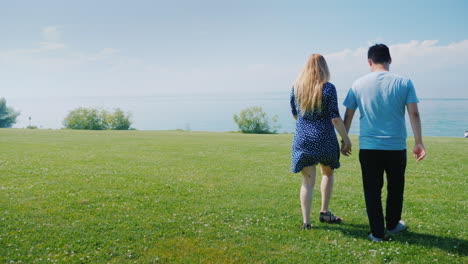 Young-Multi-Ethnic-Couple-Walking-Along-Green-Meadows-Go-Forward-Where-Beautiful-Clouds-Are-On-The-H