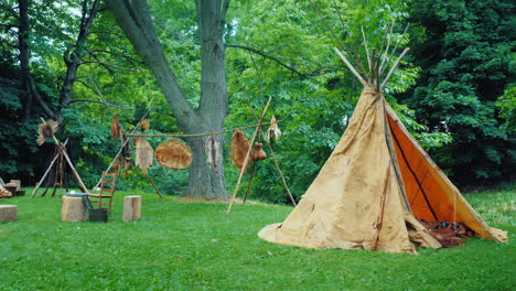 Native-American-Camp-In-The-Forest