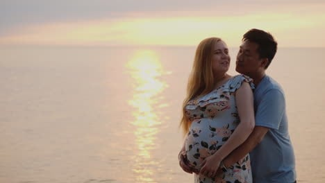Happy-Young-Multi-Ethnic-Family---Asian-Man-Hugs-His-Pregnant-Wife-Against-The-Backdrop-Of-The-Sunse