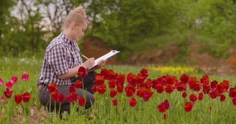 Female-Researcher-Walking-While-Examining-Tulips-At-Field-32