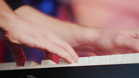 A-Professional-Musician-Plays-The-Synthesizer-His-Fingers-Press-The-Keys-Hd-Video