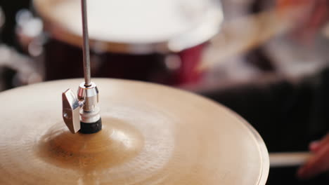 The-Drummer-Strikes-With-His-Chopsticks-Close-Up-Hd-Video