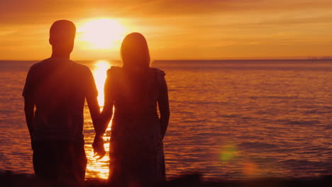 Romantic-Multi-Ethnic-Couple-Admires-The-Scenic-Sunset-Over-The-Sea-Holding-Hands-Rear-View