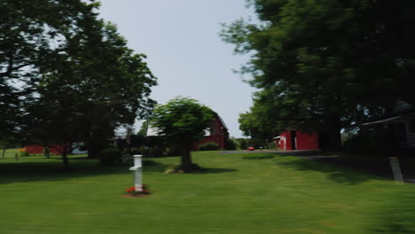 Drive-Along-Farms-In-The-United-States-Agricultural-Region