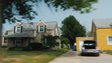 A-Summer-Trip-To-America-And-A-Typical-Suburb-Window-View-Of-American-Homes-With-Manicured-Lawns