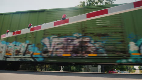 The-Train-Travels-Behind-The-Railway-Barrier