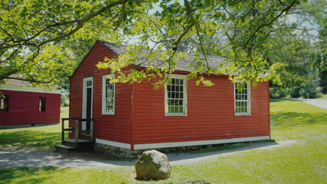 A-Small-Wooden-House-Of-Red-Color-Typical-American-House-Of-The-Last-Century