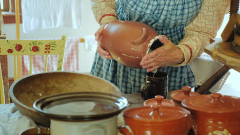 Woman-Makes-Homemade-Butter-In-The-Old-Traditional-Way