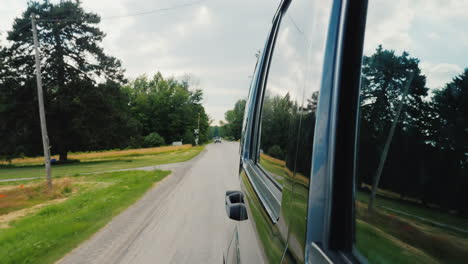 Riding-On-An-American-Suburb-View-From-The-Window-Of-An-Suv
