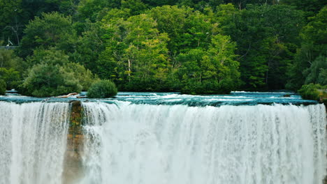 Niagara-River-And-Niagara-Falls-On-A-Background-Of-Green-Forest---Beautiful-Landscape-Of-American-Na