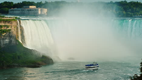 A-Ship-With-Tourists-Swims-To-The-Horseshoe-Falls-From-The-Majestic-Niagara-Falls-4k-Video
