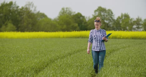 Researcher-Examining-Crops-While-Writing-In-Clipboard-1