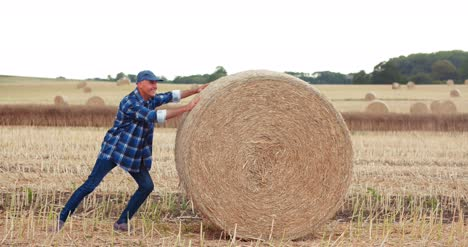 Smiling-Farmer-Rolling-Hay-Bale-And-Gesturing-In-Farm-4