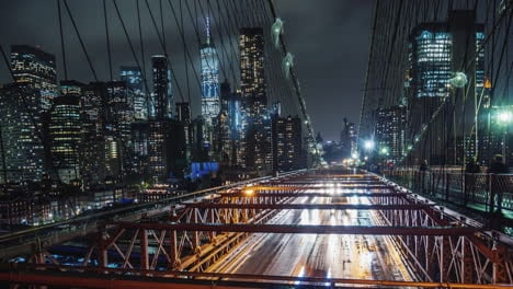 Rain-In-New-York-Traffic-Cars-On-The-Famous-Brooklyn-Bridge