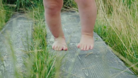 The-Legs-Of-The-Baby-Make-The-First-Unsteady-Steps-Along-The-Wooden-Path-Among-The-Grass-First-Succe