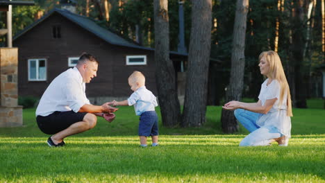 Happy-Young-Family-Playing-With-Their-1-Year-Old-Son-In-The-Yard-Slow-Motion-Video