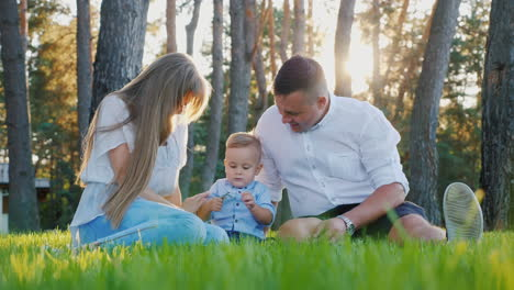 Portrait-Of-A-Young-Happy-Family-Mom-Dad-And-Baby-Boy-Sitting-On-The-Lawn-Near-His-House-At-Sunset-S