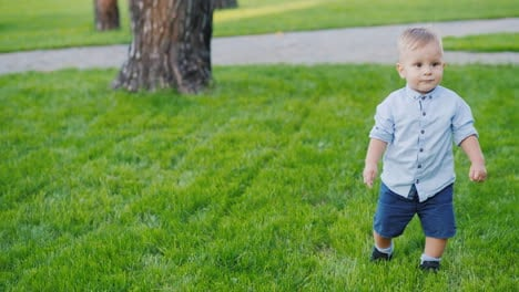 A-Merry-Kid-Runs-Towards-The-Camera-On-The-Lawn