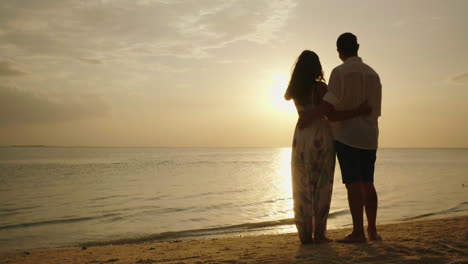 A-Young-Couple-Is-Admiring-The-Sunset-Over-The-Sea-Rear-View-4k-Video