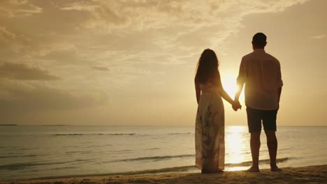 A-Young-Couple-Is-Admiring-The-Sunset-Over-The-Sea-Back-View-4k-Video