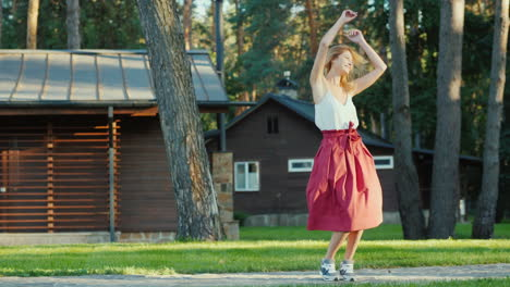 Young-Woman-Having-Fun-Dancing-In-The-Back-Two-At-Home-Slow-Motion-Video