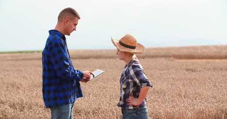 Agriculture-Female-And-Male-Farmers-Talking-At-Wheat-Field-During-Harvesting-17
