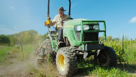 A-Farmer-Works-On-A-Small-Tractor-Uproots-Weeds-Near-The-Vineyard