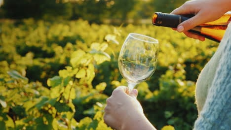 Woman-Pours-White-Wine-Into-A-Glass-Private-Tasting-Vineyard