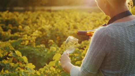 Woman-Pours-White-Wine-Into-A-Glass-Private-Tasting-At-The-Winery