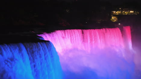 The-American-Side-Of-Niagara-Falls-Brightly-Lit-By-Multi-Colored-Spotlights-4k-Video