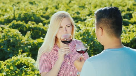 Wine-Tasting-In-The-Vineyard-People-Try-Red-Wine-On-A-Wine-Tour
