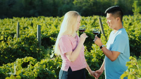 Multi-Ethnic-Couple-In-Love-Tasting-Wine-In-A-Vineyard-Holding-Hands-Honeymoon-And-Wine-Tour